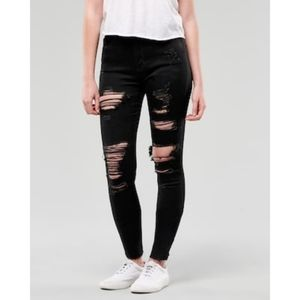 Hollister Jean Legging High Rise Distressed Black